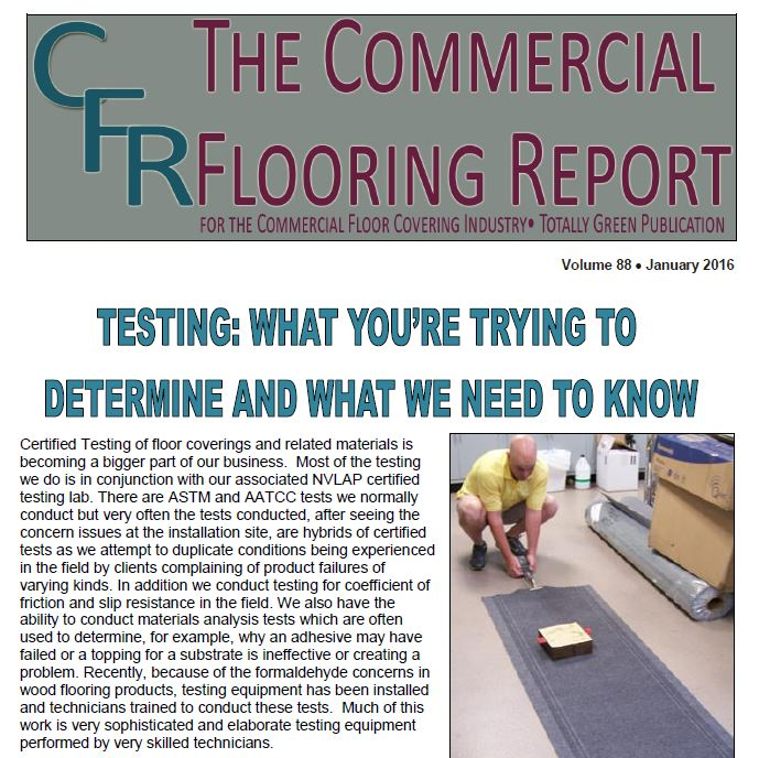 Certified testing of floor coverings, carpet inspections, carpet mill inspections