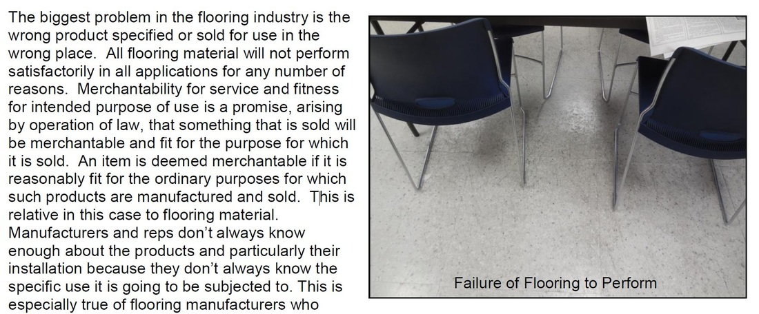flooring industry products failure to perform as specified